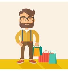 Man who go shopping vector