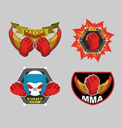 Mma emblem set mix fight club logo vector