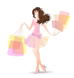 Shopping day girl in summer vector