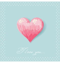 Valentine sketch heart invitation postcard vector