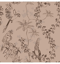 Wallpaper vintage parrot pattern vector