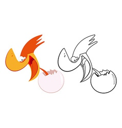Funny bird and egg vector