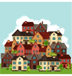 Town background design with cottages and houses vector
