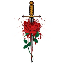 Rose and dagger vector