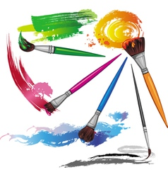 Color paintbrush with splashes vector