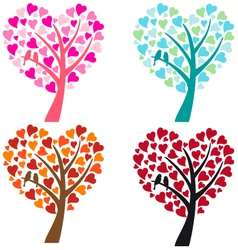 Heart shaped tree with birds vector