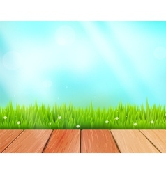 Rustic wooden planks and grass on blue vector