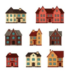 Town icon set of cottages and houses vector