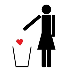 Woman throws a red heart in the trash vector