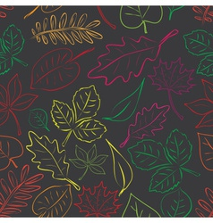 Simple autumn leaf dark and color seamless pattern vector