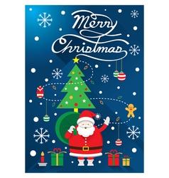Santa christmas text and tree vector