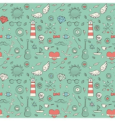 Seamless pattern with hand drawn vintage sea vector