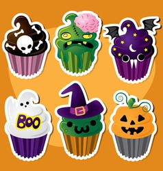 Cute set of halloween cupcakes vector