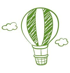 A green hot air balloon vector