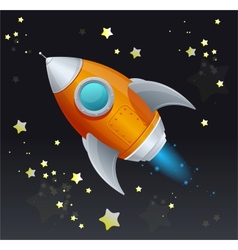 Comic cartoon rocket space ship vector