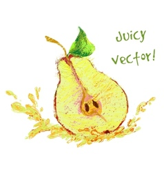 Drawing slice of pear vector