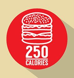Single hamburger 250 calories symbol vector