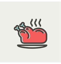 Baked whole chicken thin line icon vector