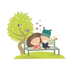 Couple teenagers sitting on the bench vector