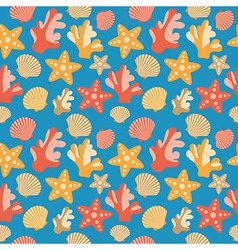 Shells coral and starfish seamless texture vector