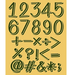 Numeric figures in green color vector
