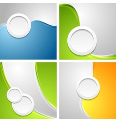 Shiny waves backgrounds with circle shapes vector