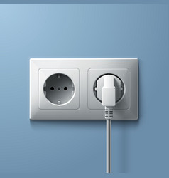 Electric white plug and socket on blue wall vector