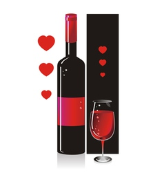 Composition from a bottle and a glass with red vector