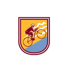 Cyclist riding mountain bike uphill retro vector