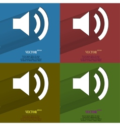 Color set speaker flat modern web button with long vector