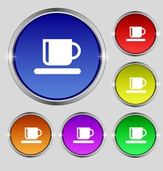Coffee cup icon sign round symbol on bright vector