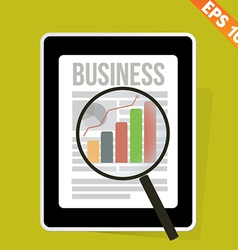 Magnifier enlarges chart in business news on vector