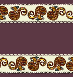 Background with lace and ukrainian floral elements vector