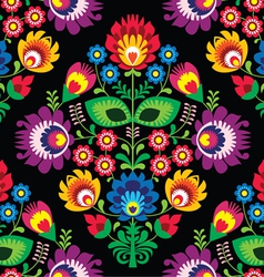 Seamless traditional floral polish on black vector