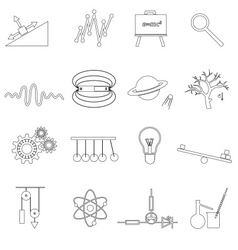 Physics outline simple icons set eps10 vector