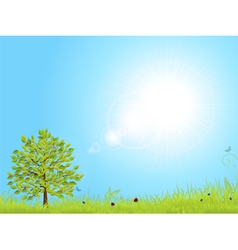 Spring landscape with blue sky vector