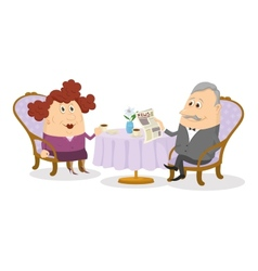 Old gentleman and lady drinking coffee vector