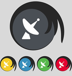 Satellite dish icon sign symbol on five colored vector