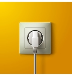 Realistic electric white socket and plug on yellow vector