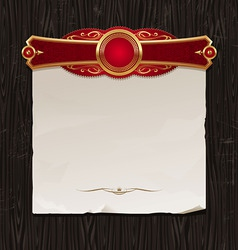 Golden frame with paper banner vector