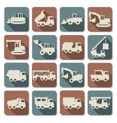 Construction machines flat icons vector