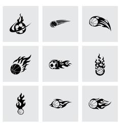 Fire sport balls icons set vector