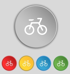 Bicycle icon sign symbol on five flat buttons vector