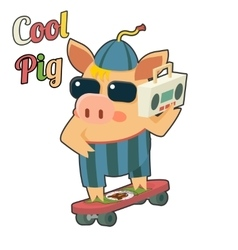 Cool pig sunglasses skateboard tape recorder vector