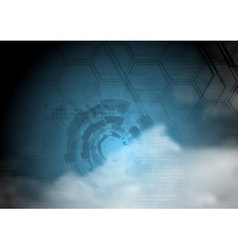 Blue technology background on cloudy sky vector