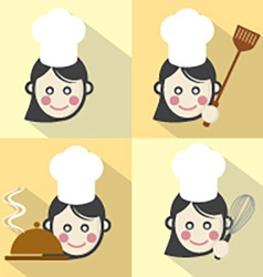 Flat design chef icon with long shadow effect vector