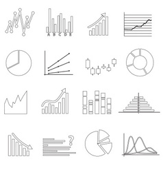 Black outline simple graphs variations set eps10 vector