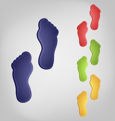 Color traces of bare feet vector