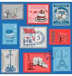 Set of stamps - vintage paris and france vector