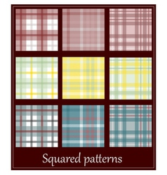 Set of 9 plaid patterns vector